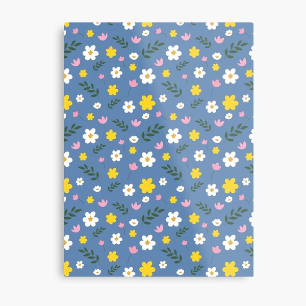 Pink, Yellow and White Flowers With Green Leaves On A Blue Background Metal Print