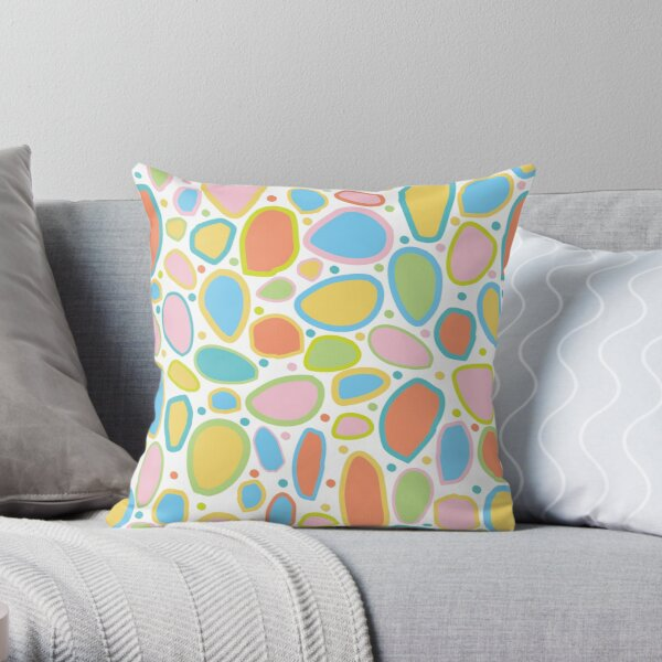 Falling Rocks and Boulders - Multi coloured , Pink, Green, Blue, Yellow, Coral, Throw Pillow
