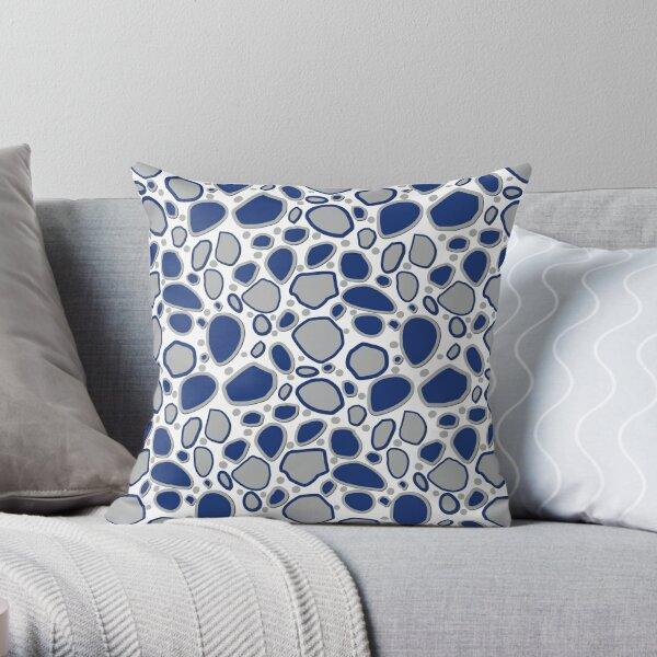 Falling Rocks and Boulders - Indigo-Blue and Grey Throw Pillow