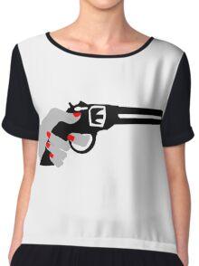 Woman's Hand on a Gun Chiffon Top
