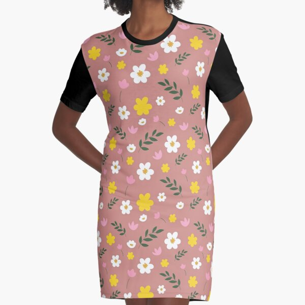 Pink, Yellow and White Flowers With Green Leaves On A Mauve Background Graphic T-Shirt Dress