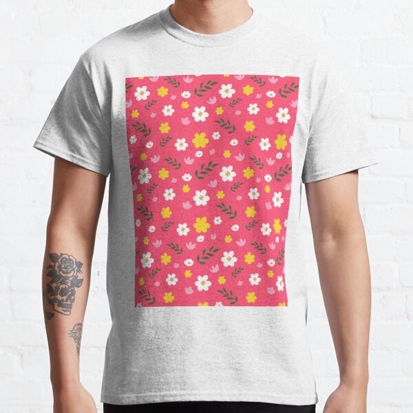Pink, Yellow and White Flowers With Green Leaves Classic T-Shirt