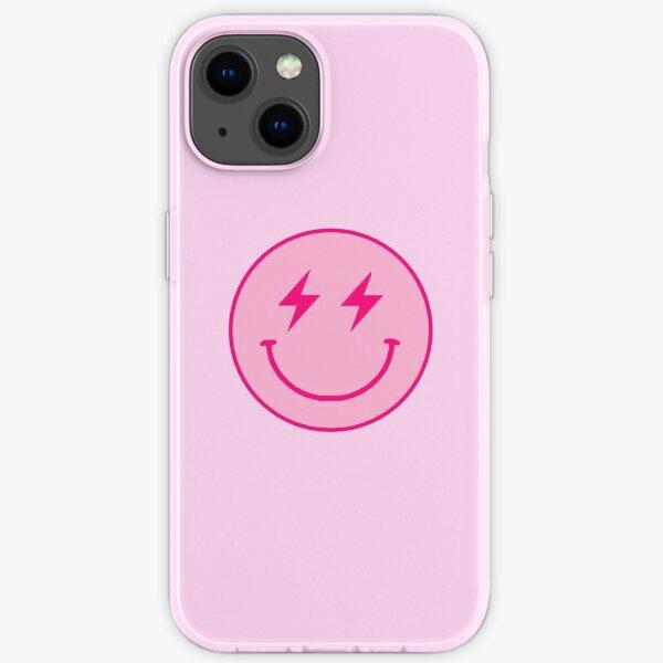 Pink lightning bolt smiley face  iPhone Soft Case