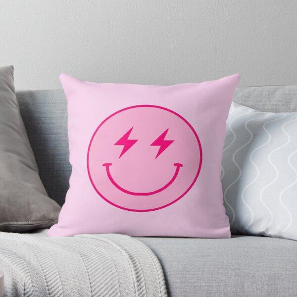 Pink lightning bolt smiley face  Throw Pillow