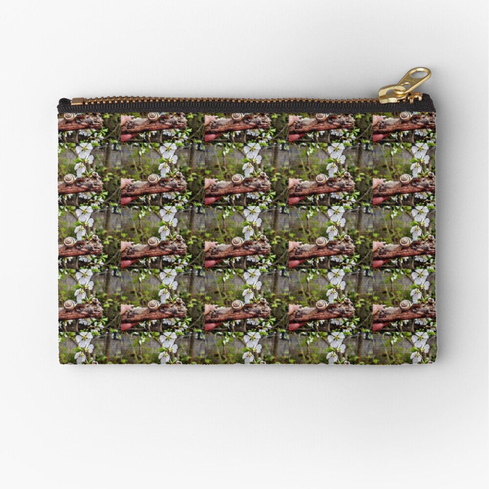 The garden snail (Helix aspersa)  By Yannis Lobaina  Zipper Pouch