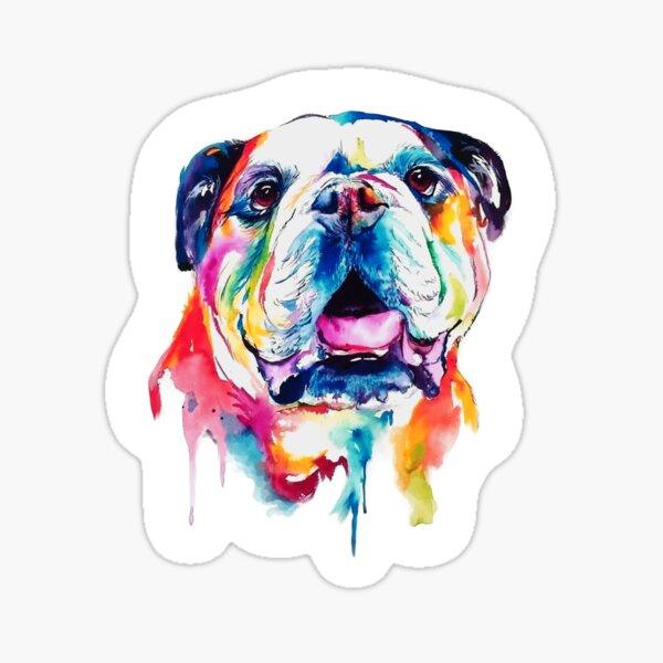British Bulldog, English Bulldog, Bulldog, dog Poster, bulldog Sticker. Print of Colorful Watercolour Portrait Gift.  Sticker