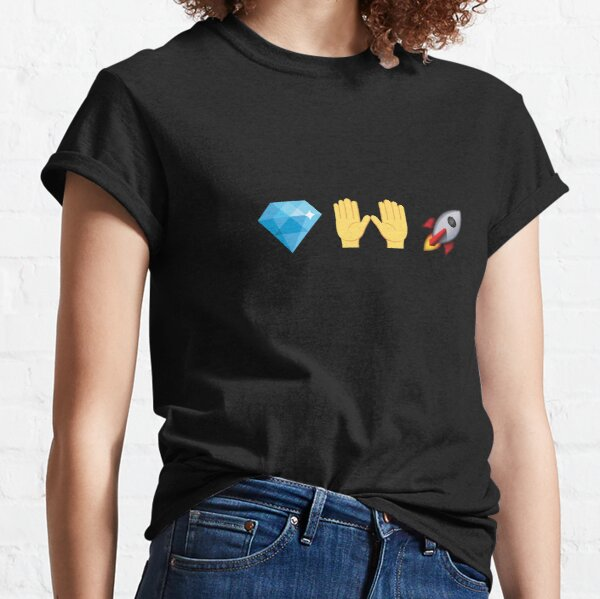 Mains de diamant Rocket Emoji Stocks Crypto T-shirt classique
