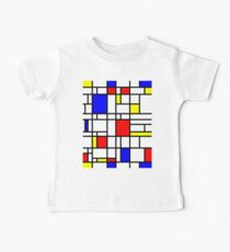 Modern Art Red Yellow Blue Grid Pattern Baby Tee