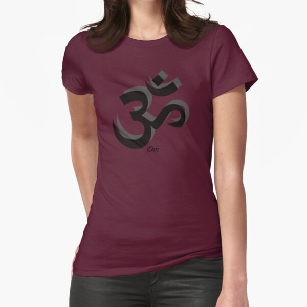 Om Repeated Symbol Fitted T-Shirt