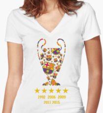 FC Barcelona - Champion League Winners Women's Fitted V-Neck T-Shirt
