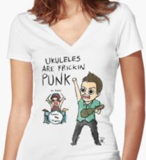 UKULELES ARE FRICKIN PUNK (OFFICIAL) Women's Fitted V-Neck T-Shirt