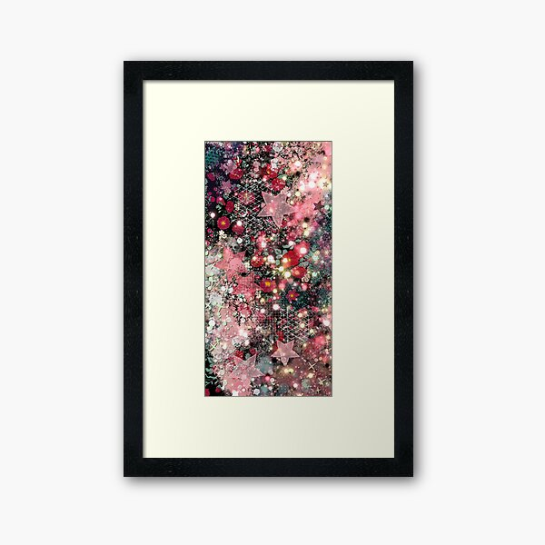 011321.5 Abstract Dark Galaxy and Roses Painting  Framed Art Print