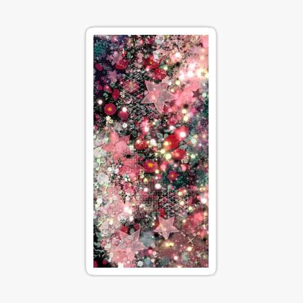 011321.5 Abstract Dark Galaxy and Roses Painting  Sticker