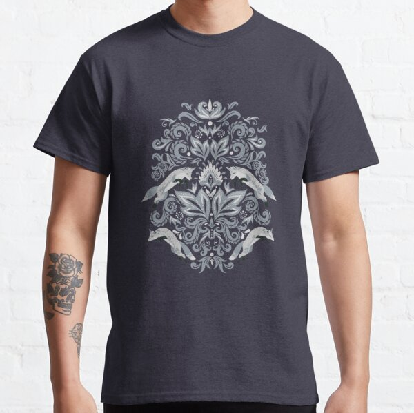 Damask Ornament with Jumping Foxes. Classic T-Shirt
