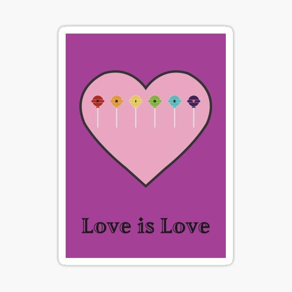 Pink Love Is Love Pride Heart Valentines Lollipops Sticker