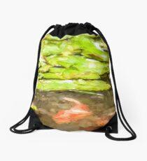 Waterlily and Koi Drawstring Bag