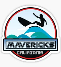 Surfing Mavericks Maverick's California Surf Surfboard Waves Half Moon Bay Sticker