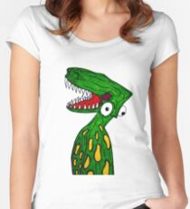 Alien Dinosaur  Women's Fitted Scoop T-Shirt