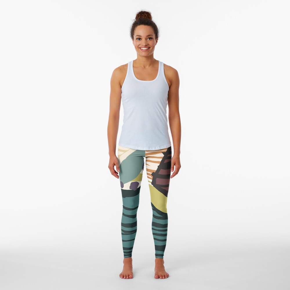 Modern Contemporer Digital Abstract Painting in colors Leggings