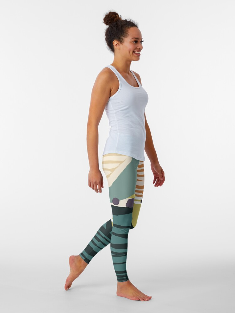 Alternate view of Modern Contemporer Digital Abstract Painting in colors Leggings