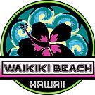 Waikiki Beach Hawaii Hibiscus Flower Wave Travel Vacation Decal Pink Green by MyHandmadeSigns