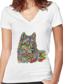 Psychedelic Wolf Women's Fitted V-Neck T-Shirt