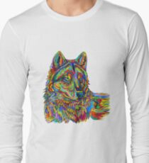 Colorful Psychedelic Rainbow Wolf Long Sleeve T-Shirt