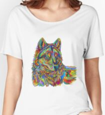 Colorful Psychedelic Rainbow Wolf Women's Relaxed Fit T-Shirt