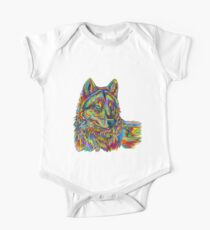 Colorful Psychedelic Rainbow Wolf Kids Clothes