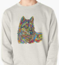 Colorful Psychedelic Rainbow Wolf Pullover
