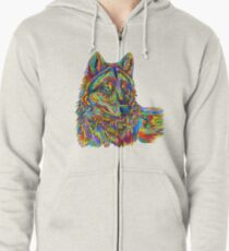 Colorful Psychedelic Rainbow Wolf Zipped Hoodie