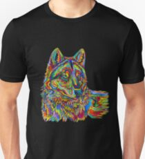 Colorful Psychedelic Rainbow Wolf Unisex T-Shirt
