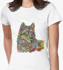 Colorful Psychedelic Rainbow Wolf Women's Fitted T-Shirt