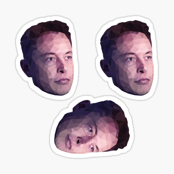 Low Poly Hero: Elon Musk – Stickers (3 Pack) Sticker