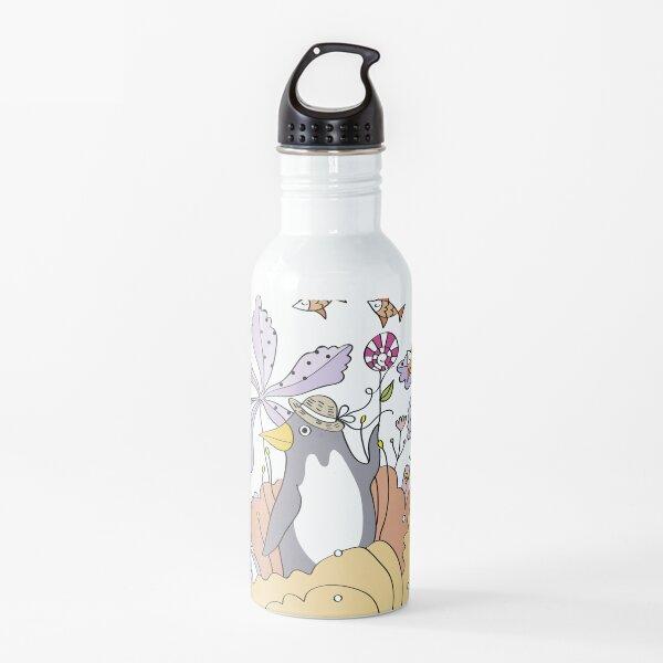 Little artist girl painting penguin in flowers Water Bottle