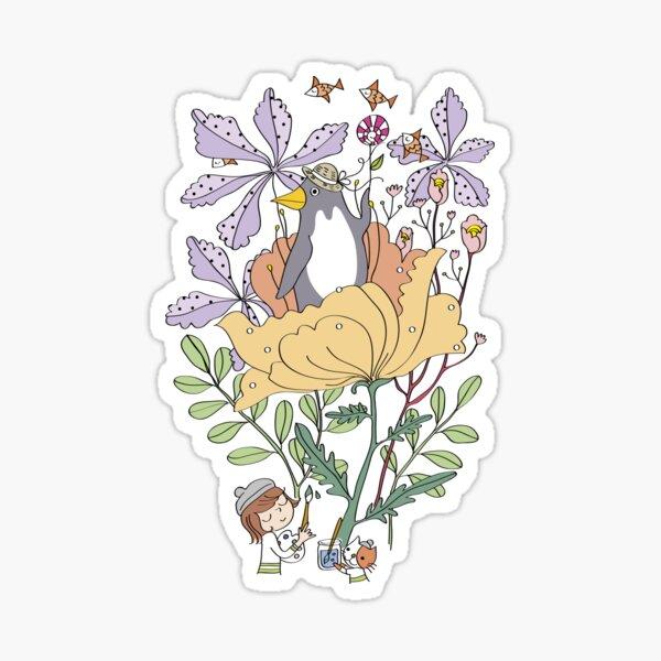Little artist girl painting penguin in flowers Sticker