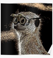 Steampunk Mongoose with Goggles and Attitude Poster