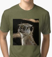 Steampunk Mongoose with Goggles and Attitude Tri-blend T-Shirt