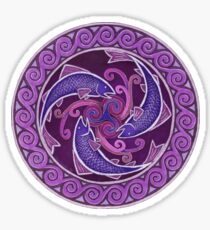 Purple Fish Spiral Celtic Triskele Mandala Sticker