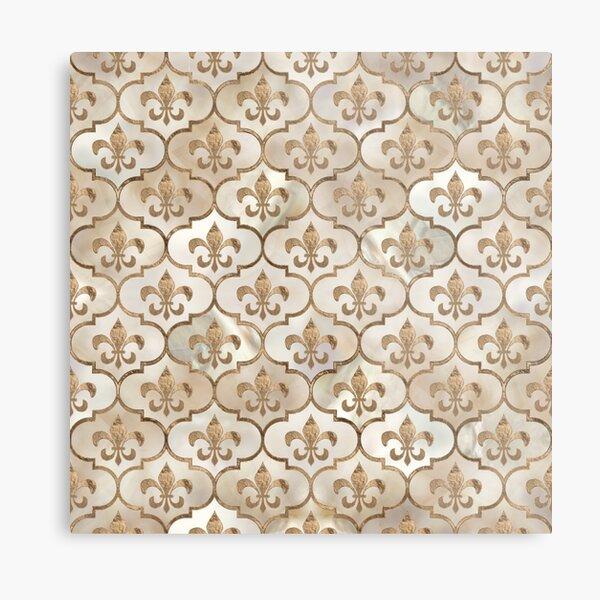 Fleur-de-lis pattern pearl and gold Metal Print