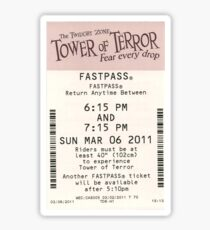 Tower of Terror Fastpass Sticker