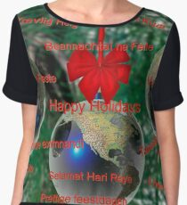 World Christmas card with greetings in many languages Chiffon Top