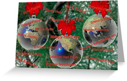 World Christmas card with greetings in many languages by Carol and Mike Werner