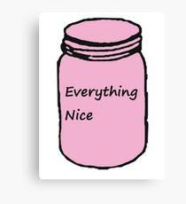"Pink ""Everything Nice"" Jar Canvas Print"