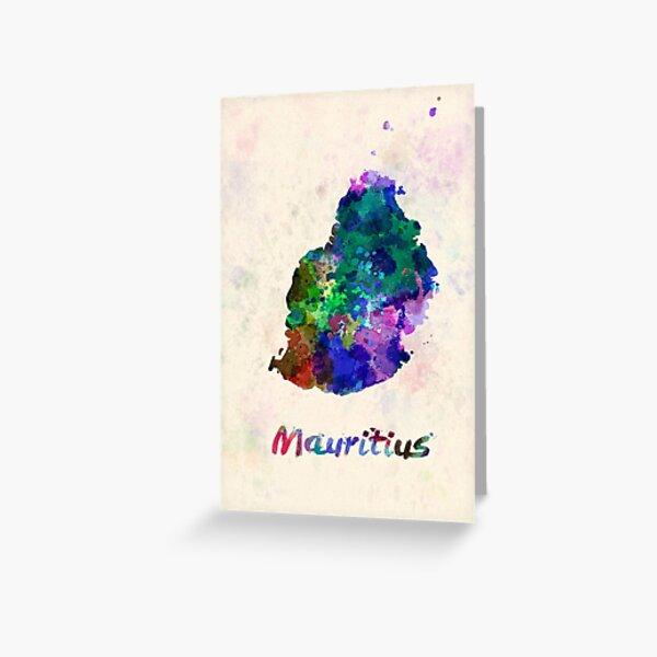 mauritius watercolor map  Greeting Card