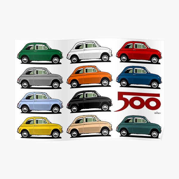 Fiat 500 side view Poster