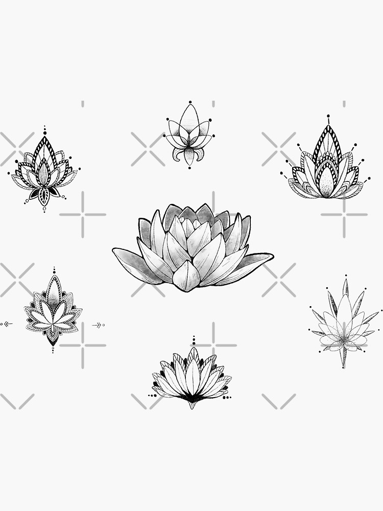 Lotus Flower Black and White Stickers - PACK (7) by Crystal-Art