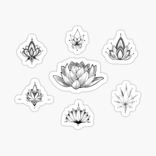 Lotus Flower Schwarz-Weiß-Aufkleber - PACK (7) Sticker