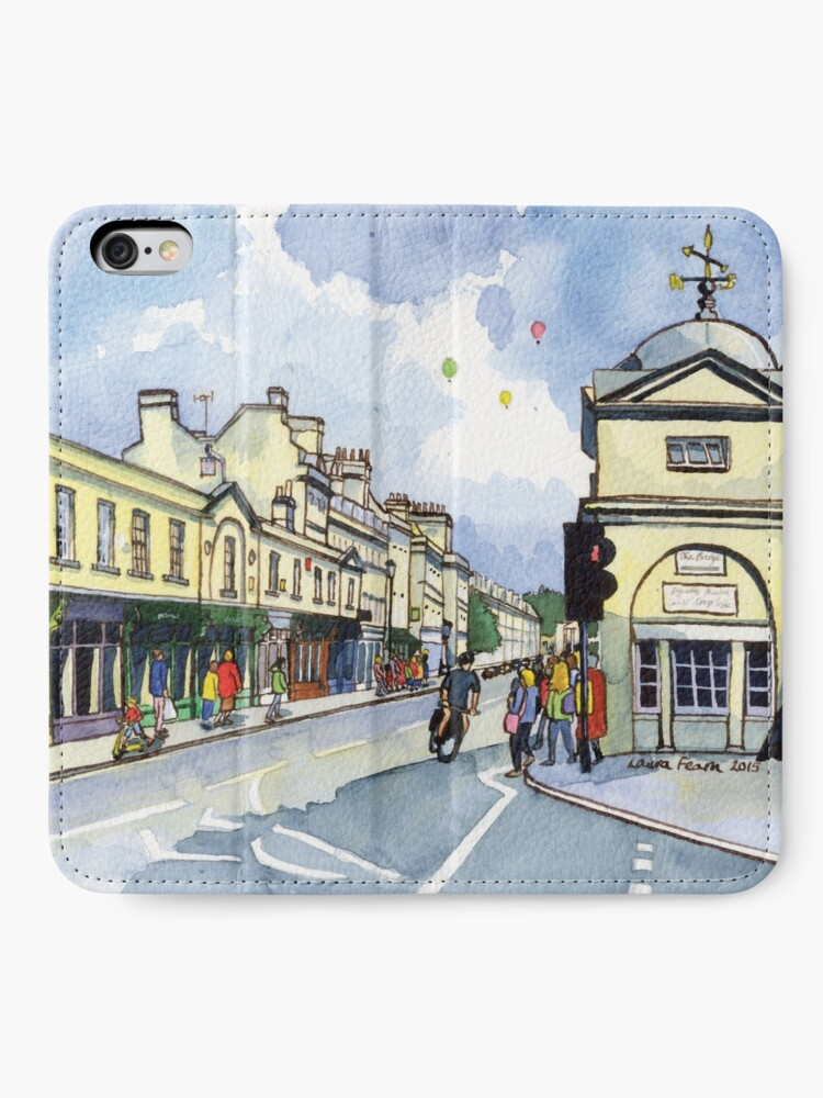 Alternate view of Pulteney Bridge in Bath with balloons iPhone Wallet