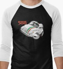 Fiat 500D caricature white Men's Baseball ¾ T-Shirt